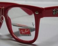 عینک ویفری قرمز شیشه شفاف ری بن   ( به همراه کیف + دستمال ضد خش  )