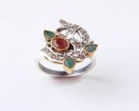 انگشتر نقره الماس یاقوت زمرد